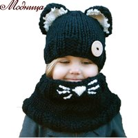 Fashion winter windproof hats and scarf set for kids crochet...