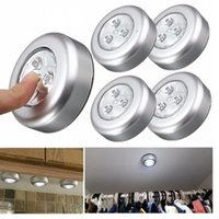 3 LED Silver Closet Cabinet Lamp Battery Powered Wireless St...