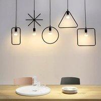 E27 Промышленного свет подвеска Креативного Nordic Loft Железная Геометрическая подвеска лампа