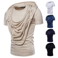 Summer Hip Hop Top Draped Design Vintage Male Short Sleeves ...