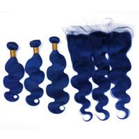 عذراء البرازيلي الظلام الأزرق الإنسان نسج الشعر مع الدانتيل أمامي إغلاق 13x4 رخيصة البرازيلي اللون الأزرق شعر الإنسان 3 حزم مع أمامي