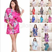 bf9dd0e351 Wholesale short silk robe online - 14 Colors Silk Satin Floral Robe Women  Kimono Short Sleepwear