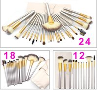 Pinceles de maquillaje 24/18/12 PCS Conjuntos Cosméticos Cepillo y Bolso Pinceles Profesionales Pincel Foundation Blush Makeup Pinceles Sombre de ojos Kit de cepillo