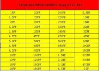 0402 Kit surtido de condensadores de chip SMD, 52 valores * 50PCS = 2600PCS (1pF ~ 1uF)