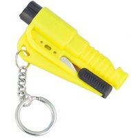 Mini Safety Hammer Emergency Bodyguard 3 en 1 SOS Whistle Cutter de cinturón de seguridad Window Break Escape Glass Breaker Keychain Whistle Knife Epackage