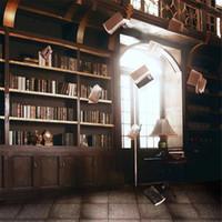 Интерьер комнаты ретро старинные книжные полки свадебный фон для фотографии печатных волшебные книги яркие окна фотостудии фоны