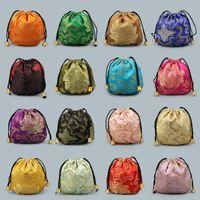 Горячие продажи небольшой шелковой парчи ювелирные изделия сумка для хранения сумка китайская ткань шнурок подарочная упаковка монета карман