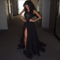 GP1 Sexy Long Side Slit Prom Dresses 2018 Nueva llegada Black Lace Evening Party Dress Vestido formatura Vestido para Gradutation
