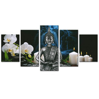 Buddha Canvas Wall Art Orchid Flower e Candele Immagine stampe su tela moderna Peaceful Home Living Room Decor opere d'arte incorniciata