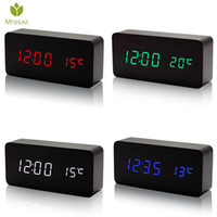 Mrosaa Wooden LED Alarm Clocks Temperature Electronic Clock Sounds Control Digital LED Display Desktop Calendar Table clock