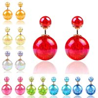 0. 86*0. 59inch Studs Candy Colors Ball Earrings Pearls Earrin...