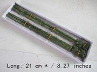 8. 27 inches   100% natural color jade two pairs of chopstick...