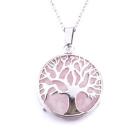 Natural Stone Tree of Life Necklaces Pendants Pink Quartz Wh...