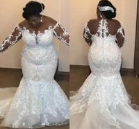 African Plus Size Wedding Dresses Sheer Neck Illusion Long S...