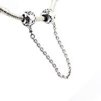Catena incantata di sicurezza a forma di bracciale in argento originale con catena a forma di serpente Collana con perle per gioielli che fanno gioielli in argento sterling per donna