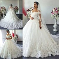 Newest Romantic Applique Ball Gown Wedding Dresses V Neck Of...