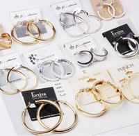 Brincos de argola moda perfurado grande lote misto europeu big marca high end ouro / prata hoop loop dangle brincos huggie