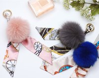 Art- und Weiseschlüsselanhänger kreativer silk Schalbogen-Fuchspelzball Schlüsselring-Auto-Schlüsselringfrauen-Beutel-Geldbeutel-Kettenanhänger Charme-Schmucksachegeschenk Zusätze