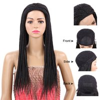 22inch Long Black Synthetic Hair Braided Lace Front Wig with...