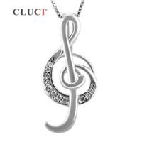 CLUCI musikalische symbol Violinschlüssel form perle käfig anhänger 925 sterling silber halskette anhänger 3 stücke S18101607