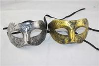 Adulte Hommes Rétro Gladiateur Romain Mascarade Masques Masque Vintage Masque De Carnaval Hommes Halloween Costume Masque De Partie (Argent Et Or)