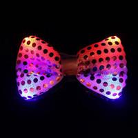 LED Yay Bağları Işıltılı Boyun Kravat Yanıp Moda Papyon Parti Düğün Dans Sahne Parlayan Bağları