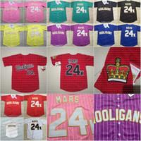 24k Bruno Mars Männer Hooligans Baseball Jersey Frauen / Jugend BET Awards Schwarz Weiß Rot Blau Alle genähten Hohe Qualität Trikots
