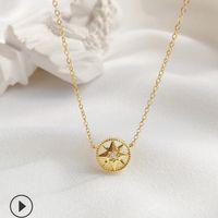 Schmuck S925 Sterling Silber Halskette für Frauen Achteck Kompass mit diomand Halskette heißer Art und Weise frei von Versand