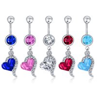 Belly Bar Button Ring Body Piercing Rose Red Rhinestone Crys...