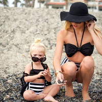 Kızlar Fiyonk bikini mayo anne şeritler ve beni plaj bikini moda yeni kadın şerit yüksek bel swmisuit çocuk 2adet setleri A00226 mayo