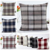 10 Styles Grid Square Pillow Case Double- sided Linen Lattice...