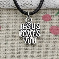 New Fashion Tibetan Silver Pendant jesus loves you 15*11mm N...