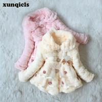 Meninas xunqicls inverno casaco de pele do falso crianças grossas jaquetas quentes crianças roupas de algodão-acolchoado roupas de bebê top
