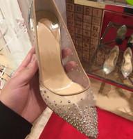 2019 nueva primavera verano estilos elegantes zapatos de mujer Rhinestone tacones altos cristales punta estrecha malla bombas mujer zapatos de boda de suela roja