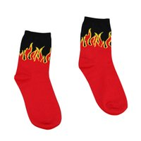 Fashion Design Men ' s Red Flame Pattern Crew Socks Life...