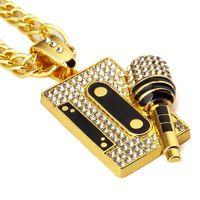 2018 подвески ожерелья хип-хоп старинные магнитная лента с микрофоном кулон ожерелье золото серебро ювелирные изделия мужской подарок