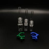 Quarz-Spitze für Mini-Nektar-Kollektor-Installationssatz-Verbindung 10mm 14mm 18mm mit freiem Plastikkeck befestigt Quarz-Banger-Nagel-Quarz-Spitzen
