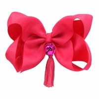 12 colores Jingle Bell Hair Bows para 6 '' grandes borlas Big Grosgrain Ribbon Bow con clips Accesorios para el cabello para niños Girls.18pcs / lot