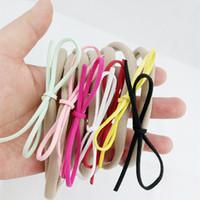 패션 베이비 누드 나일론 탄성 머리띠 가짜 가죽 활 키즈 여자 DIY Bowknot Hairbands 어린이 헤어 액세서리 7 색
