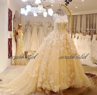 2018 new garden yellow Lace Wedding Dresses Bridal Gowns flo...
