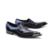 De lujo de los hombres formales de cuero genuino zapatos de boda planos para hombre azul Brogue Business Casual Party caballero zapatos de boda