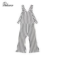 New Toddler Infant Child Kids Baby Girls Casual Stripes Monos Brace Pantalones Romper Bell Bottoms Ropa sin mangas