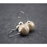 Big Ball Diamond Pearl Earring Luxury Stud Classic Women Wed...