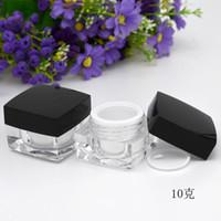 5G 10G leeren Proben Creme Pot Glas Nagellack Beauty Gesichtspflege Augen Lippen Pulver-Kasten kosmetischer Behälter mit schwarzem Deckel 20pcs