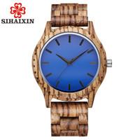 SIHAIXIN 나무 시계 남성 선물 최고 블루 얼굴 얼룩말 대나무 나무 시계 남성 2018 년 새로운 석영 시계 무료 배송