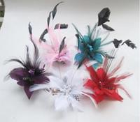 Accessoires de cheveux de mariée mariage plume Corsage coiffure bandeau Pinces à cheveux épingle Fascinator broche fleur corsage broche épingle bande de cheveux