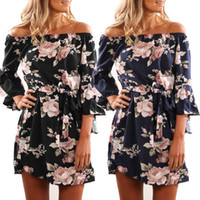 Ladies Fashion 3 4 Sleeve Party Summer Dress Casual Female B...
