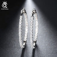 Silver Color High Polished Hoop Earrings Paved with AAA Aust...