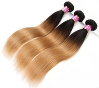 Brazilian Straight Human Virgin Hair Weaves Two Tone Ombre C...