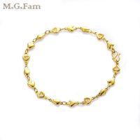 (248B) MGFam (21 سم * 5 ملم) أساور قلب مطلي بالذهب عيار 24 قيراط لسيدة ذات تصميم جميل وخالية من النيكل